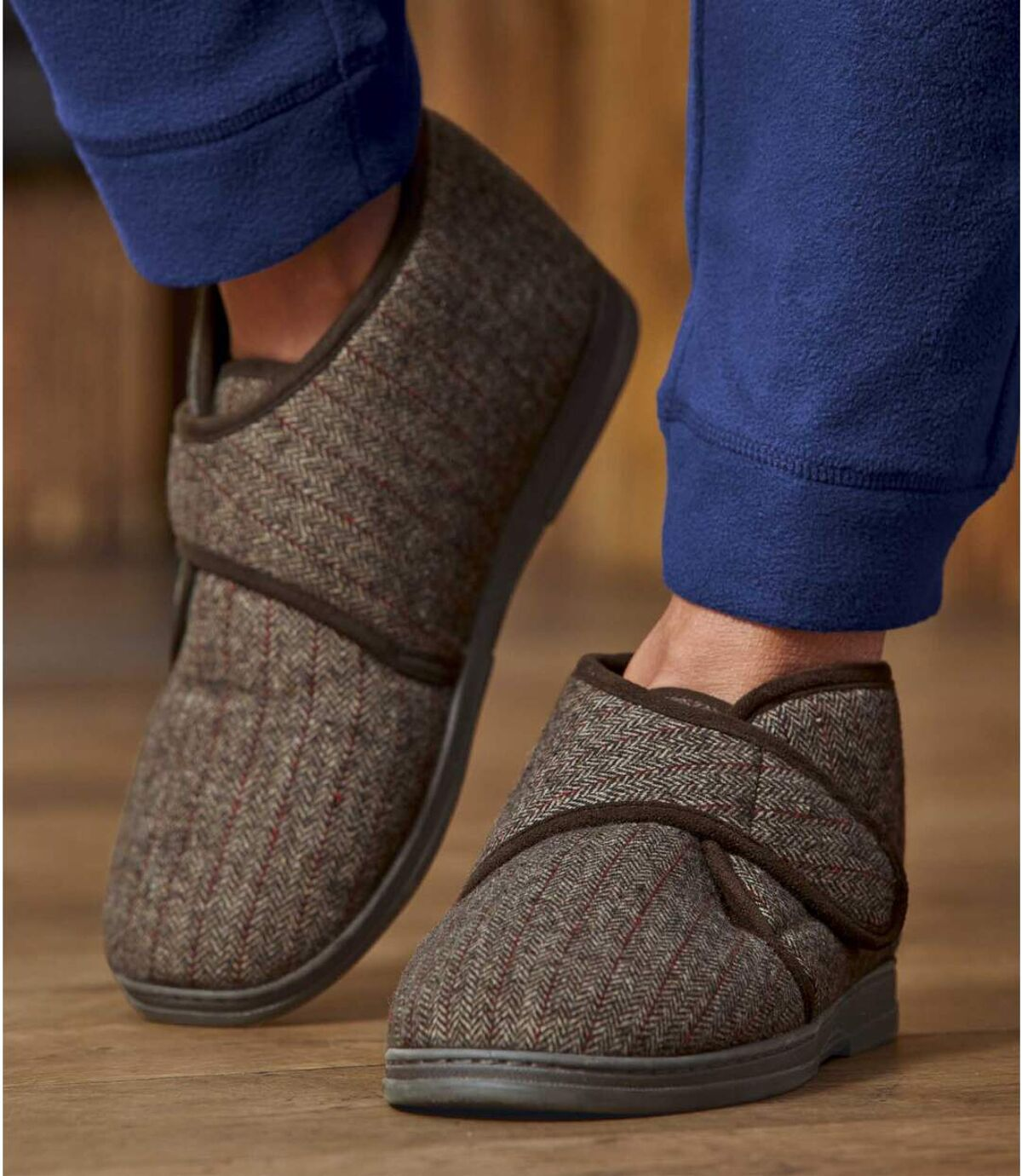 Pánske zateplené vyššie papuče na suchý zips Atlas For Men