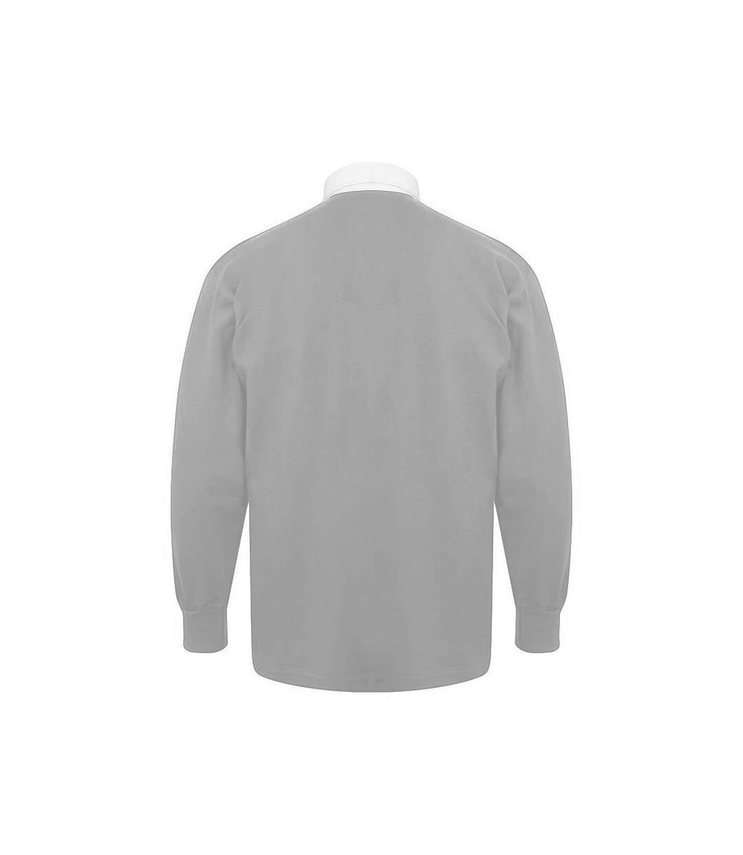 Front Row - Polo De Rugby À Manches Longues 100% Coton - Homme (Gris/Blanc) - UTRW478