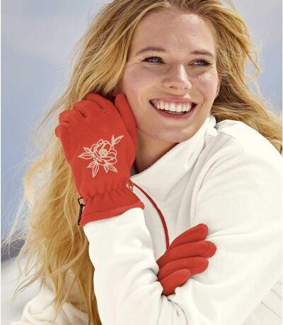 Fleece handschoenen met borduursel