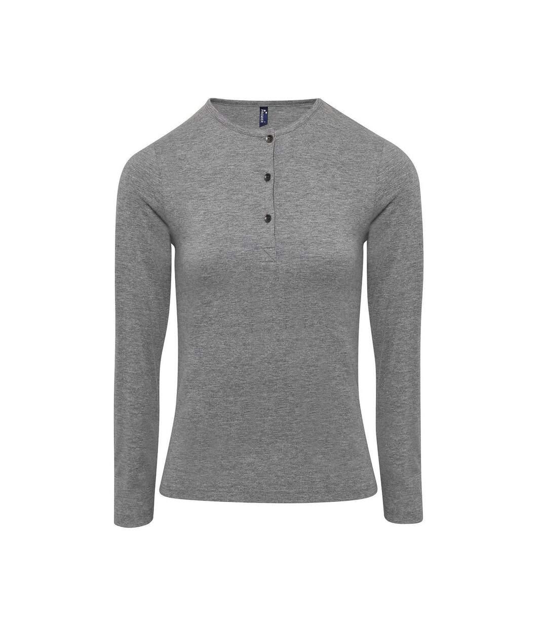 Dégagement T-shirt henley manches retroussables Femme PR318 gris dsf.d455nksdKLFHG