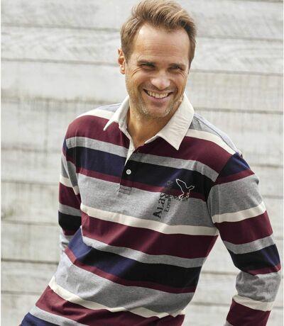 Men's Striped Polo Shirt - Blue Grey Burgundy