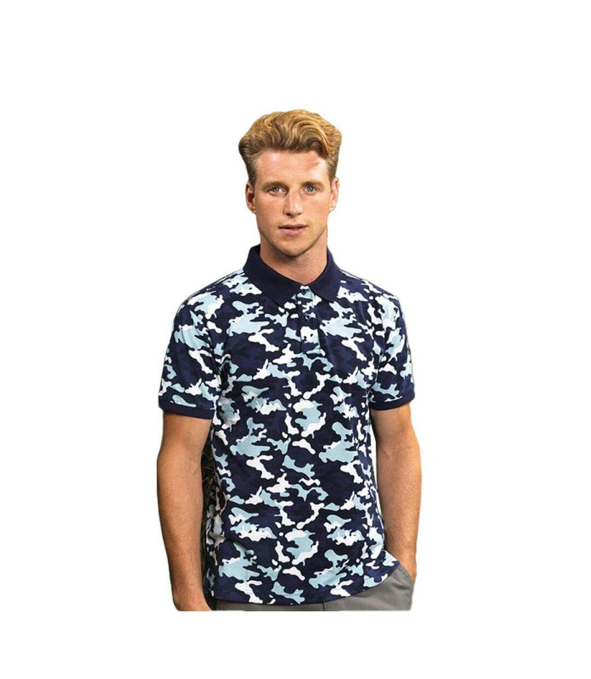 Asquith & Fox Mens Short Sleeve Camo Print Polo Shirt (Camo Blue) - UTRW5351