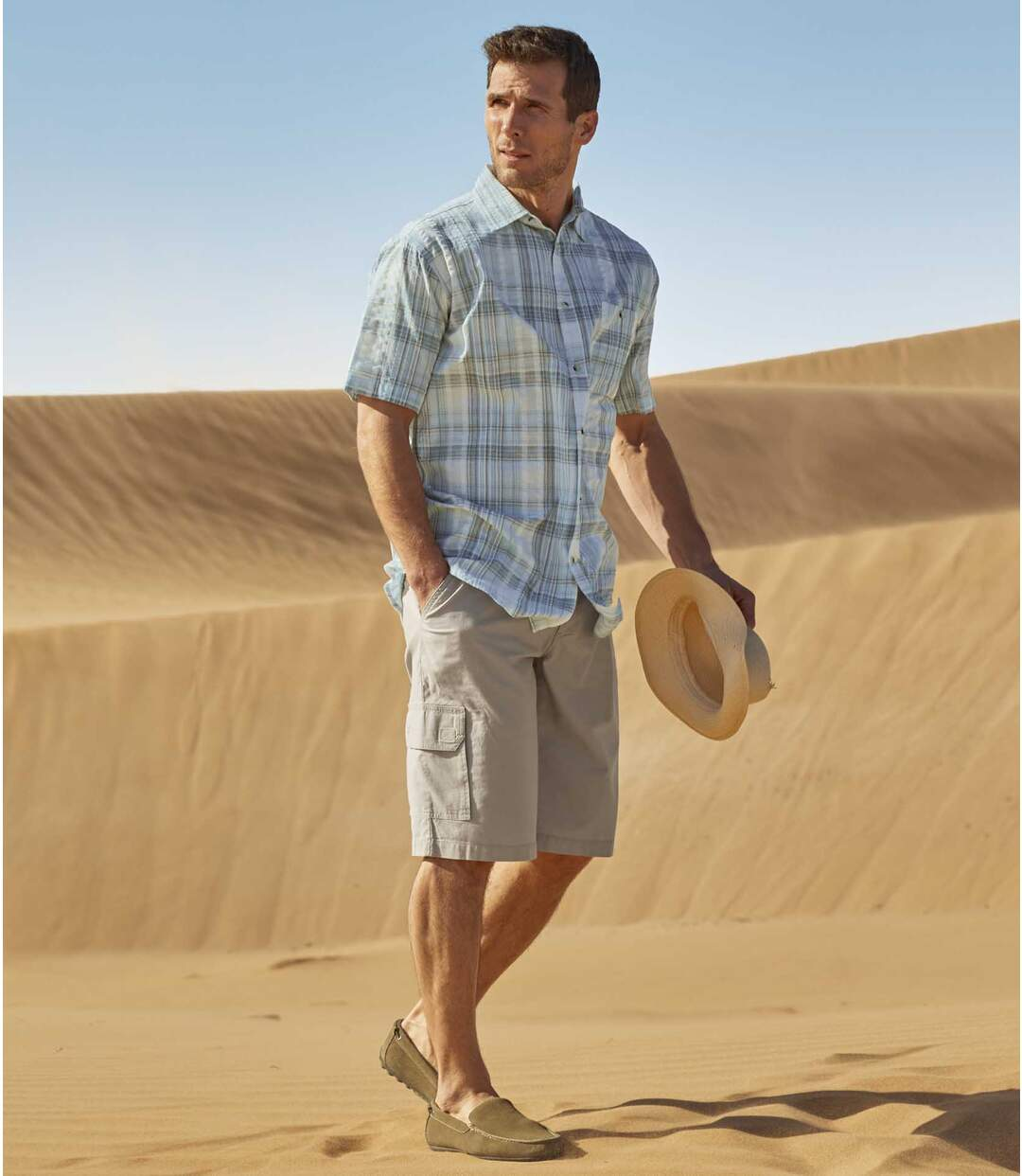 Men's Ecru Summer Cargo Shorts