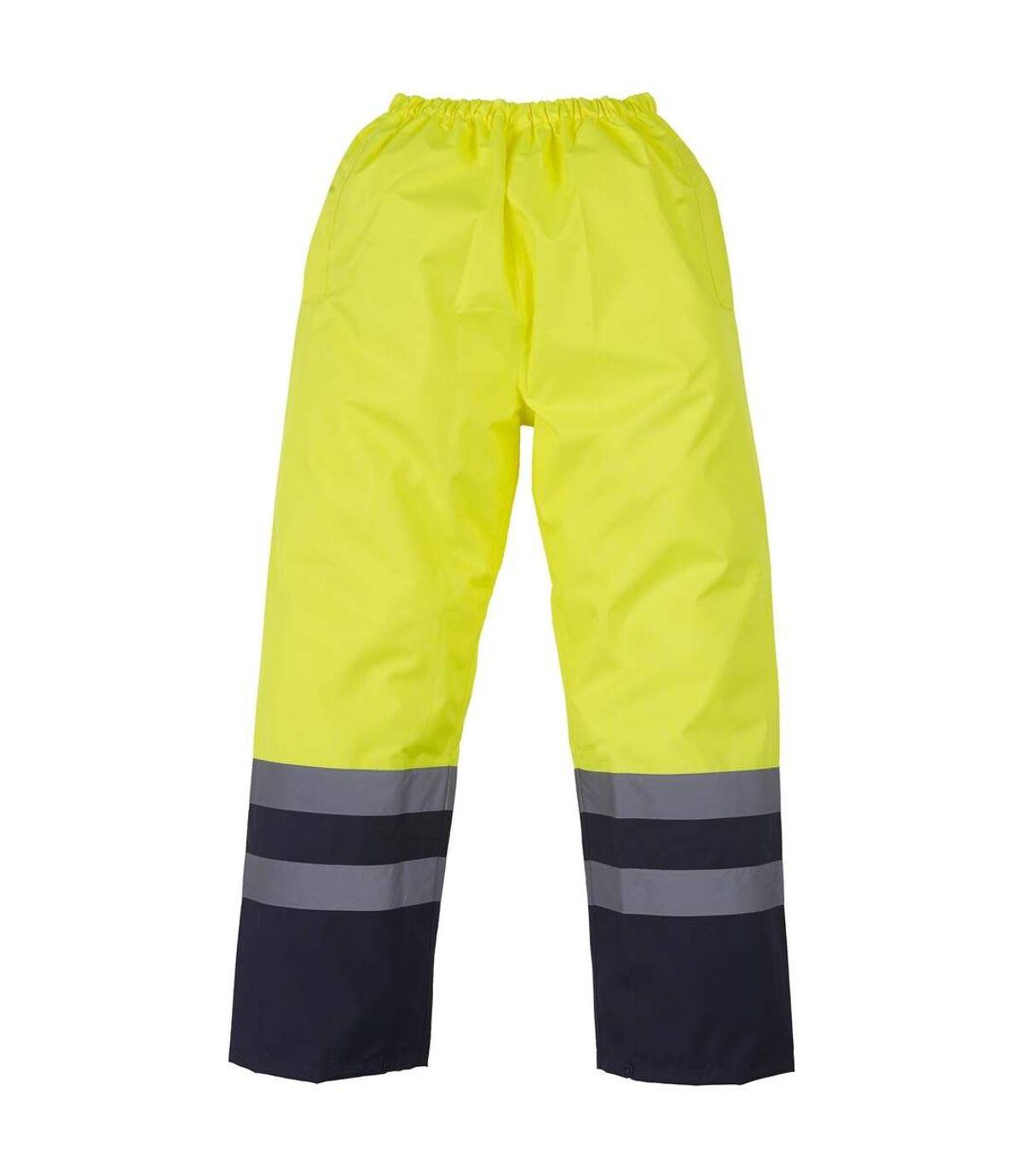 Yoko Mens Hi Vis Waterproof Overtrousers (Pack of 2) (Yellow/ Navy) - UTRW6888
