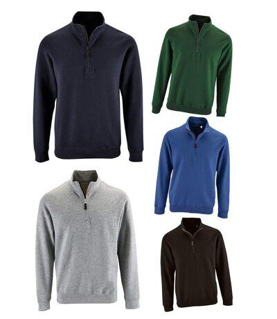 Lot 5 sweat-shirts col camionneur - bleu roi, marine, gris chiné, noir et vert