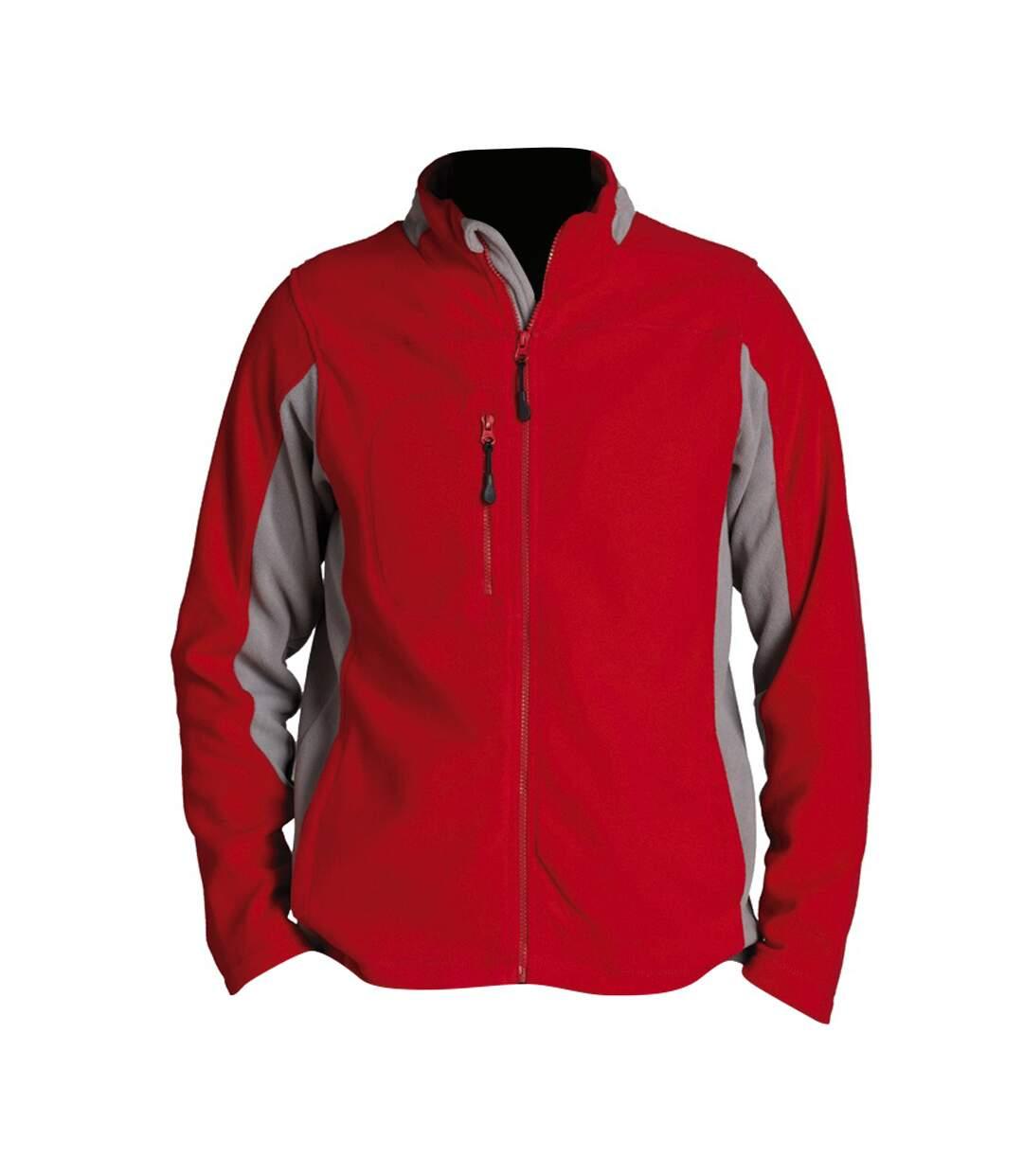 SOLS Mens Nordic Full Zip Contrast Fleece Jacket (Red/Medium Grey) - UTPC409