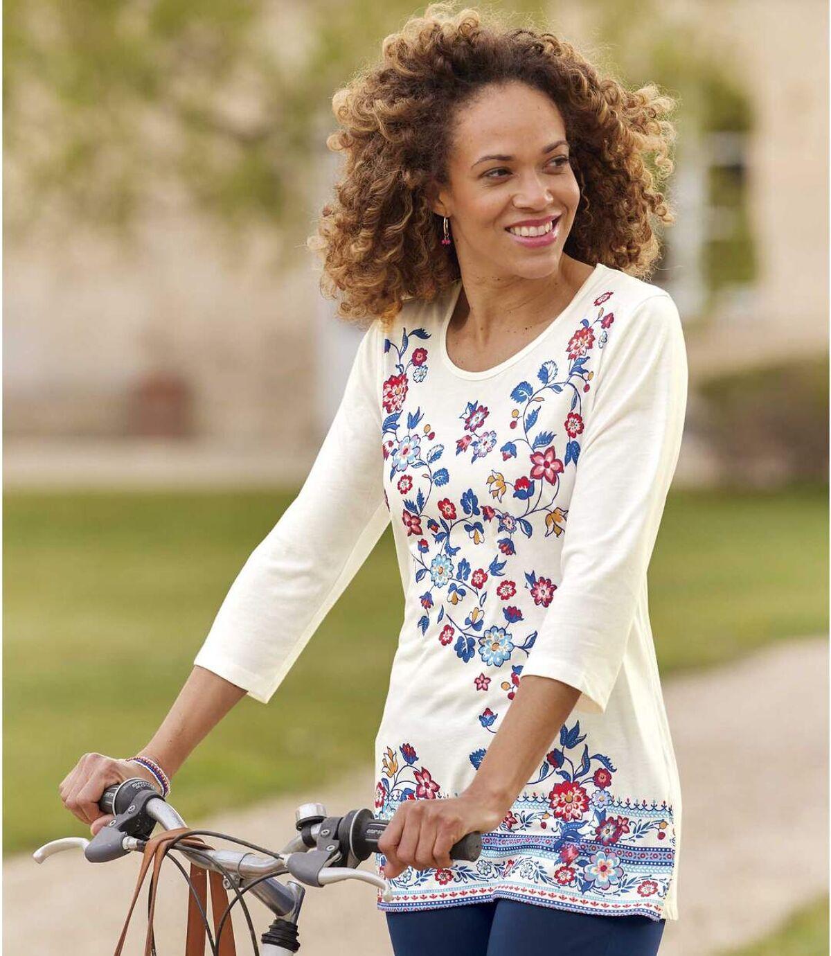 Women's Off-White Floral Print Top   Atlas For Men