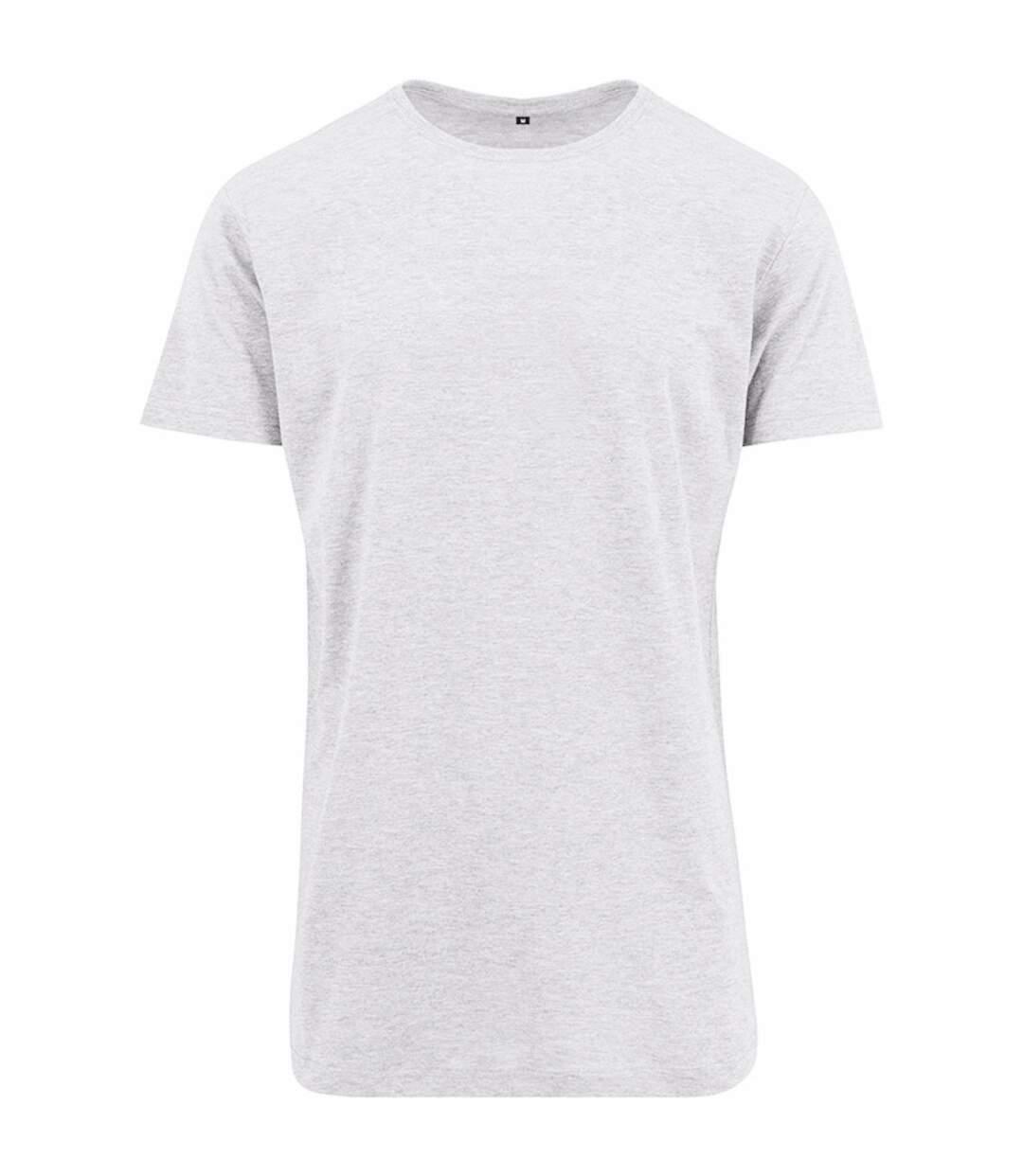 Build Your Brand Mens Shaped Long Short Sleeve T-Shirt (White) - UTRW5671