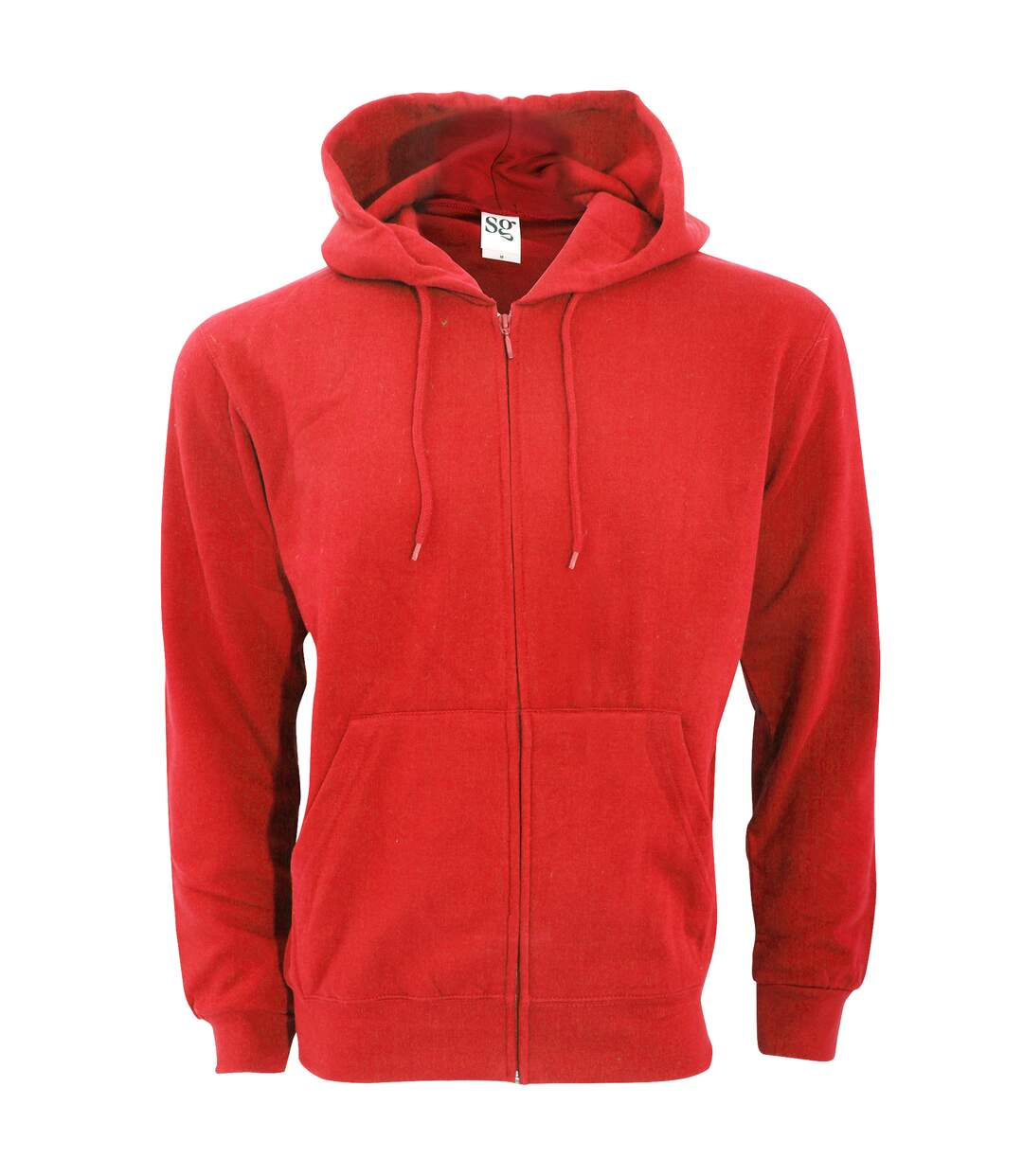SG Mens Plain Full Zip Hooded Sweatshirt (Red) - UTBC1075