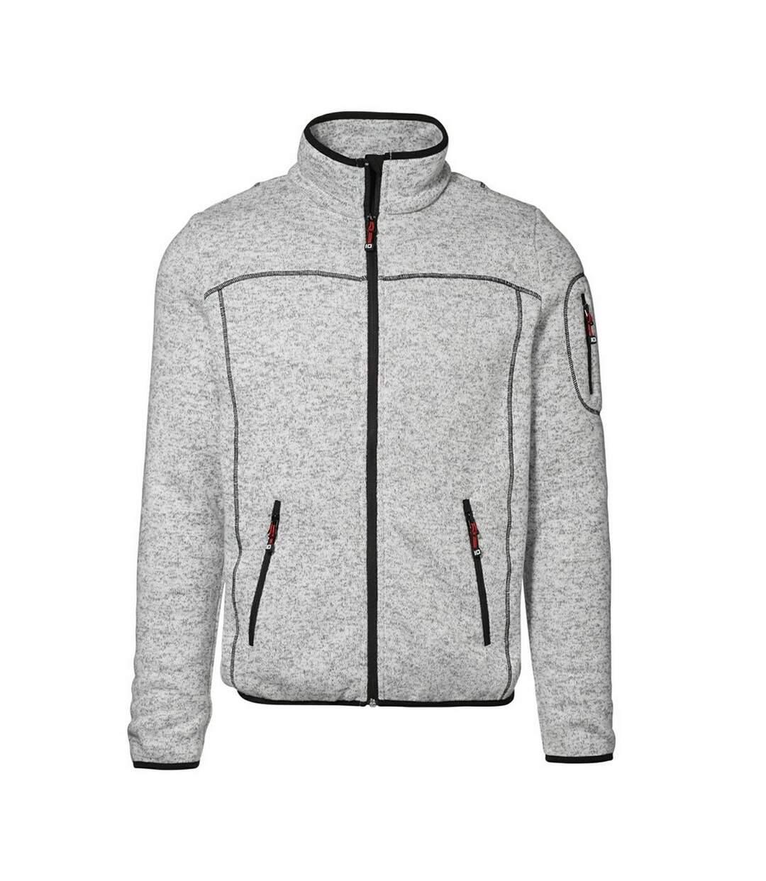 ID Mens Full Zip Regular Fitting Melange Knit Fleece Jacket (Grey melange) - UTID315