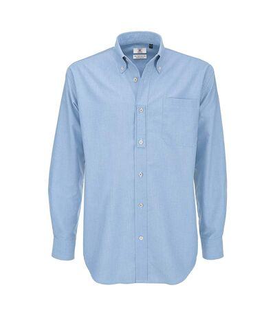 B&C Mens Oxford Long Sleeve Shirt / Mens Shirts (Oxford Blue) - UTBC105