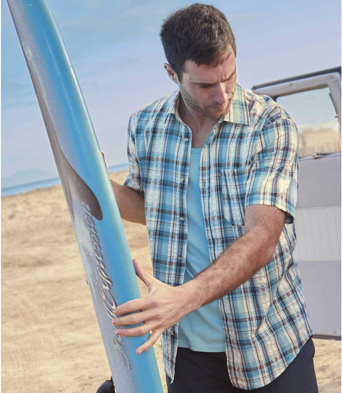 Koszula z gofrowanej bawełny Blue Lagoon Atlas For Men