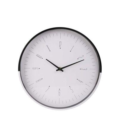 Paris Prix - Horloge Murale Design two Tone 30cm Blanc & Noir