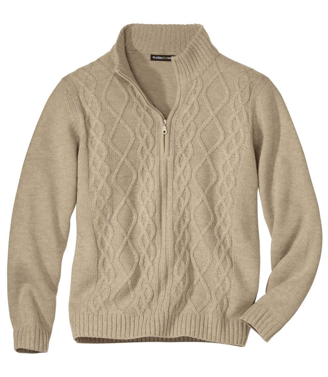 Csavart mintás kötött, magas nyakú pulóver Atlas For Men