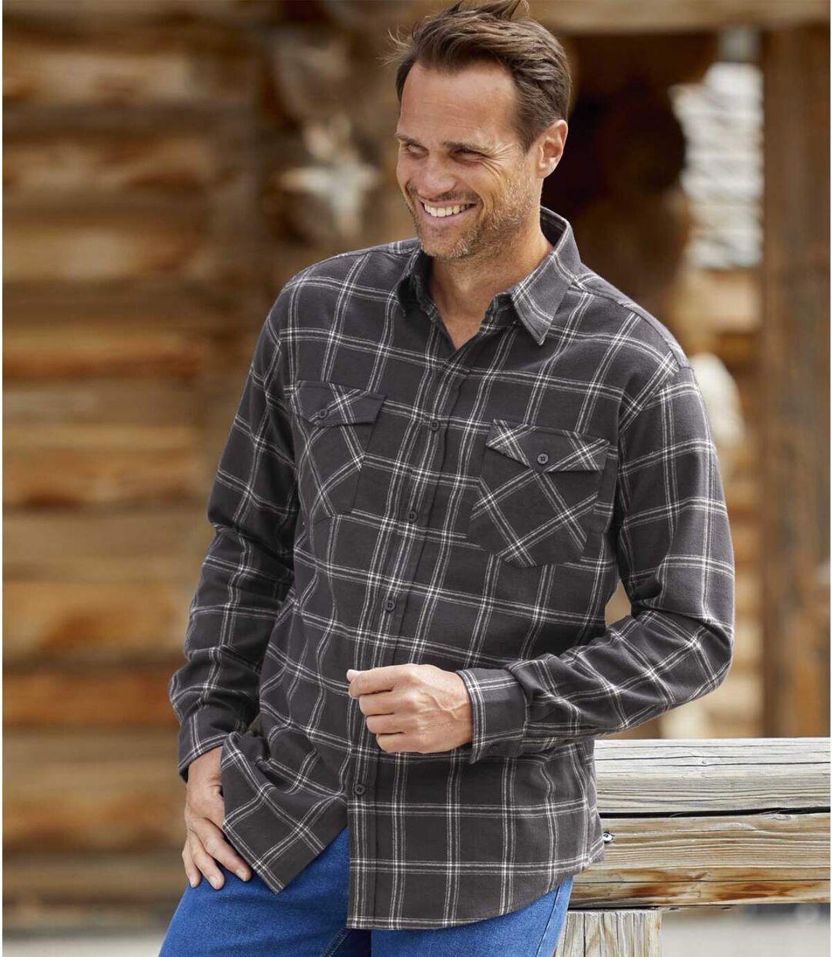 Men's Black Checked Flannel Shirt Atlas For Men