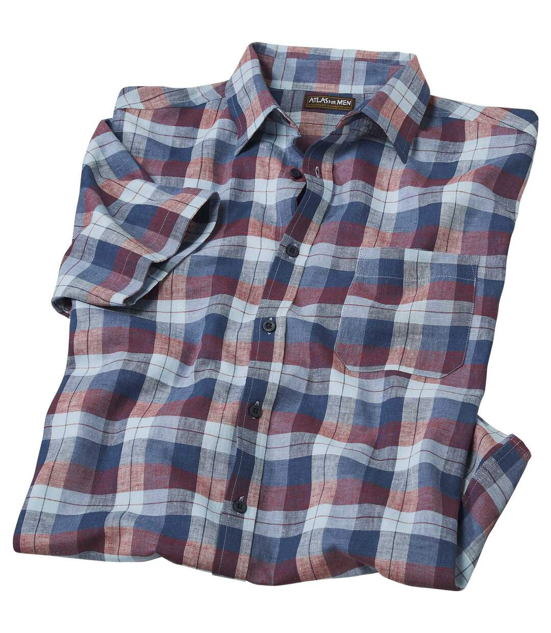 Men's Blue and Red Checked Shirt