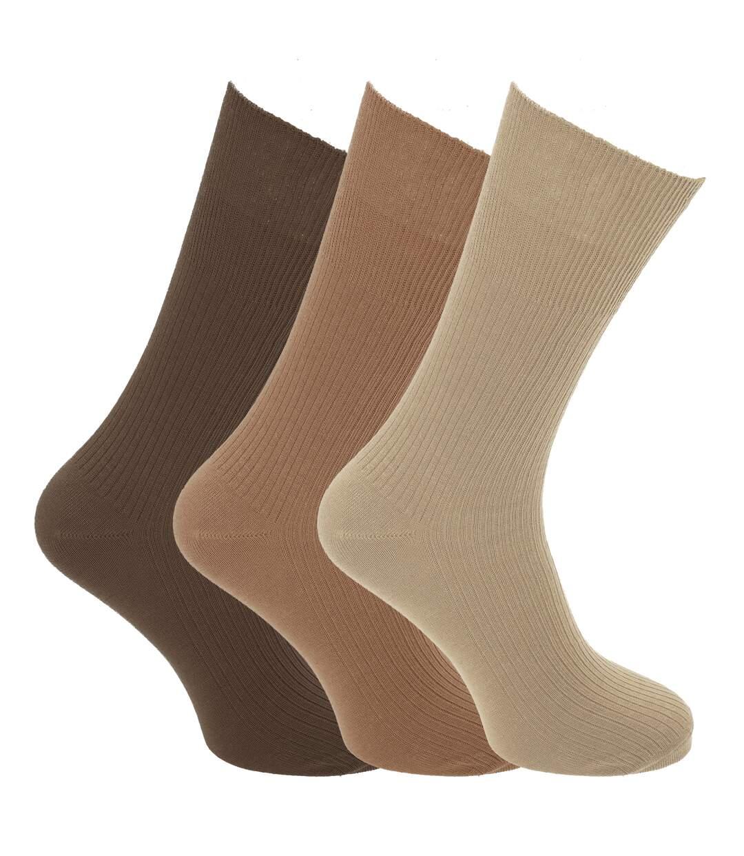 Mens Big Foot Non Elastic Diabetic Socks (3 Pairs) (Shades Of Brown) - UTMB385
