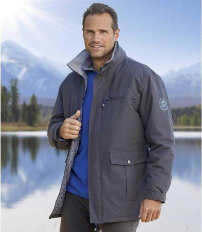 Men's Grey All-Terrain Parka - Foldaway Hood -Water-Repellent - Full Zip