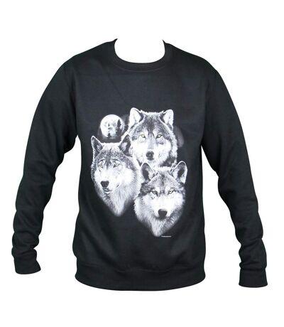 Sweat-shirt motif loups - 11225 - homme - noir