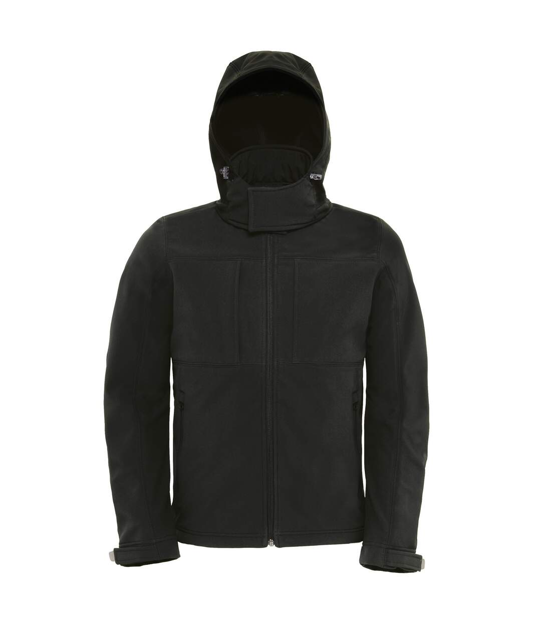 B&C Mens Hooded Softshell Breathable, Waterproof & Windproof Jacket (Fleece Lining) (Black) - UTBC2001