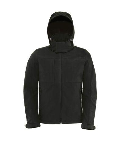 B&C Mens Hooded Softshell Breathable, Waterproof & Windproof Jacket (Fleece Lining) (Black) - UTBC2001