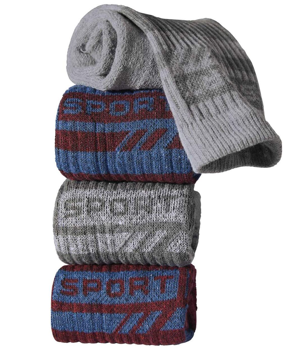 Pack of 4 Pairs of Men's Sports Socks - Burgundy Grey Indigo Atlas For Men