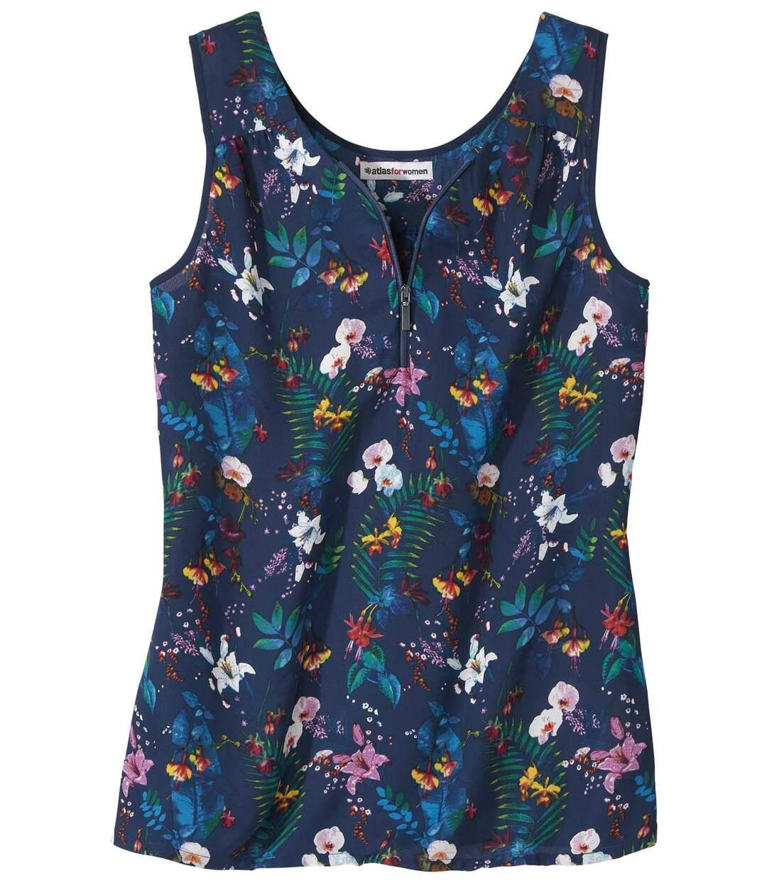 Women's Navy Zip-Neck Vest Top