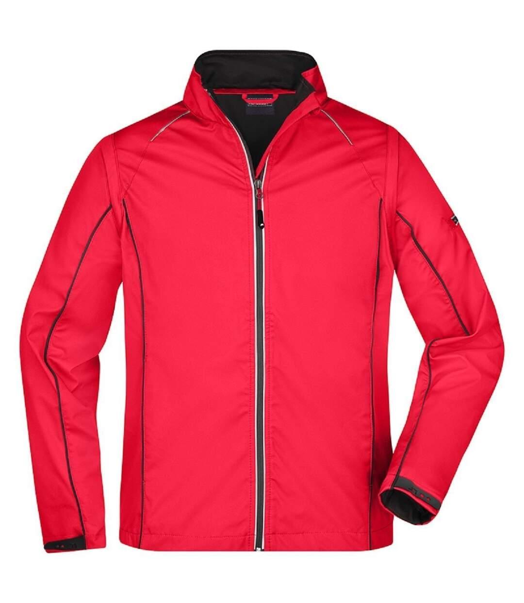 Veste softshell manches amovibles - homme - JN1122 - rouge et noir