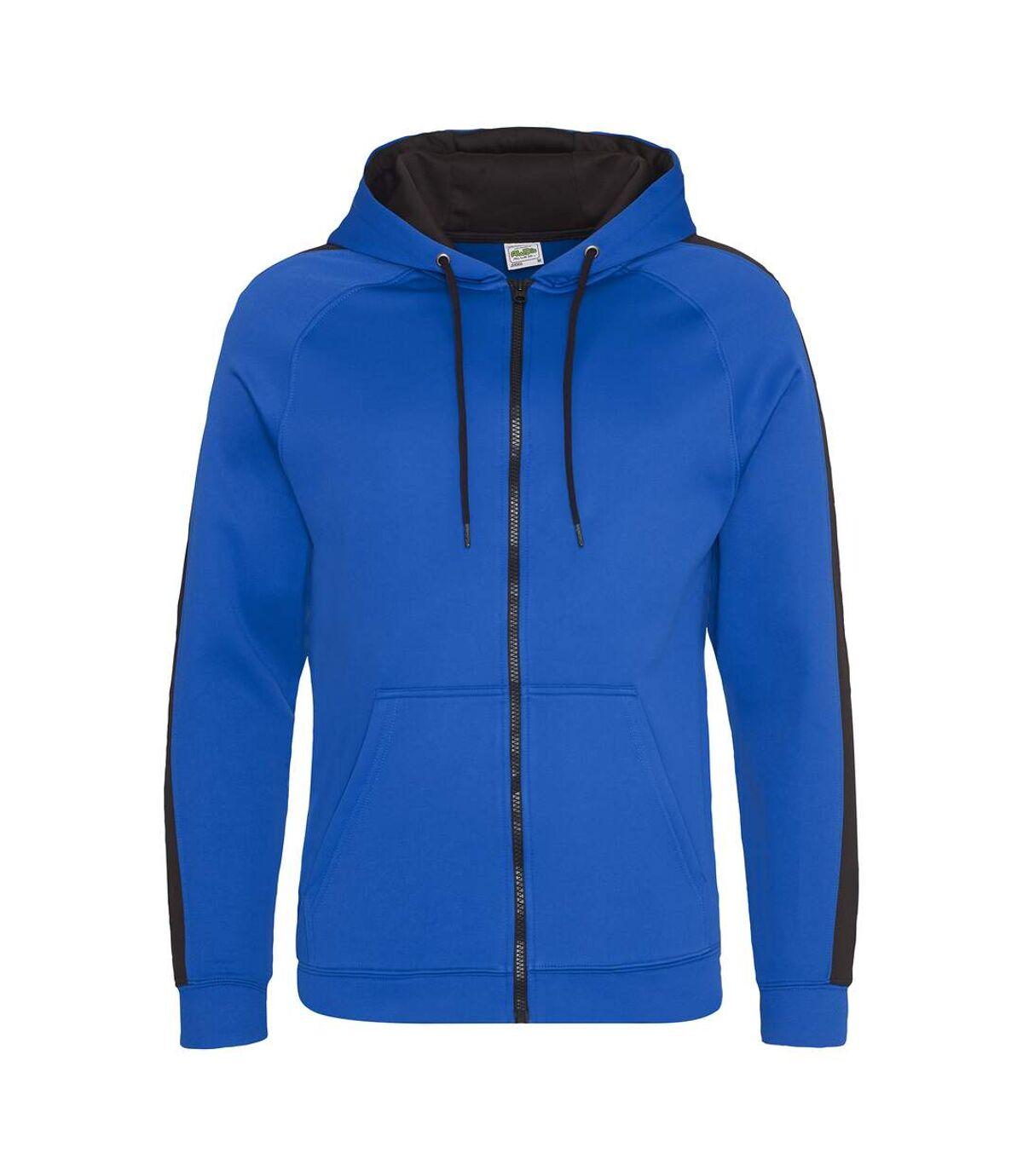 AWDis Just Hoods Mens Contrast Sports Polyester Full Zip Hoodie (Royal Blue/Jet Black) - UTPC2967