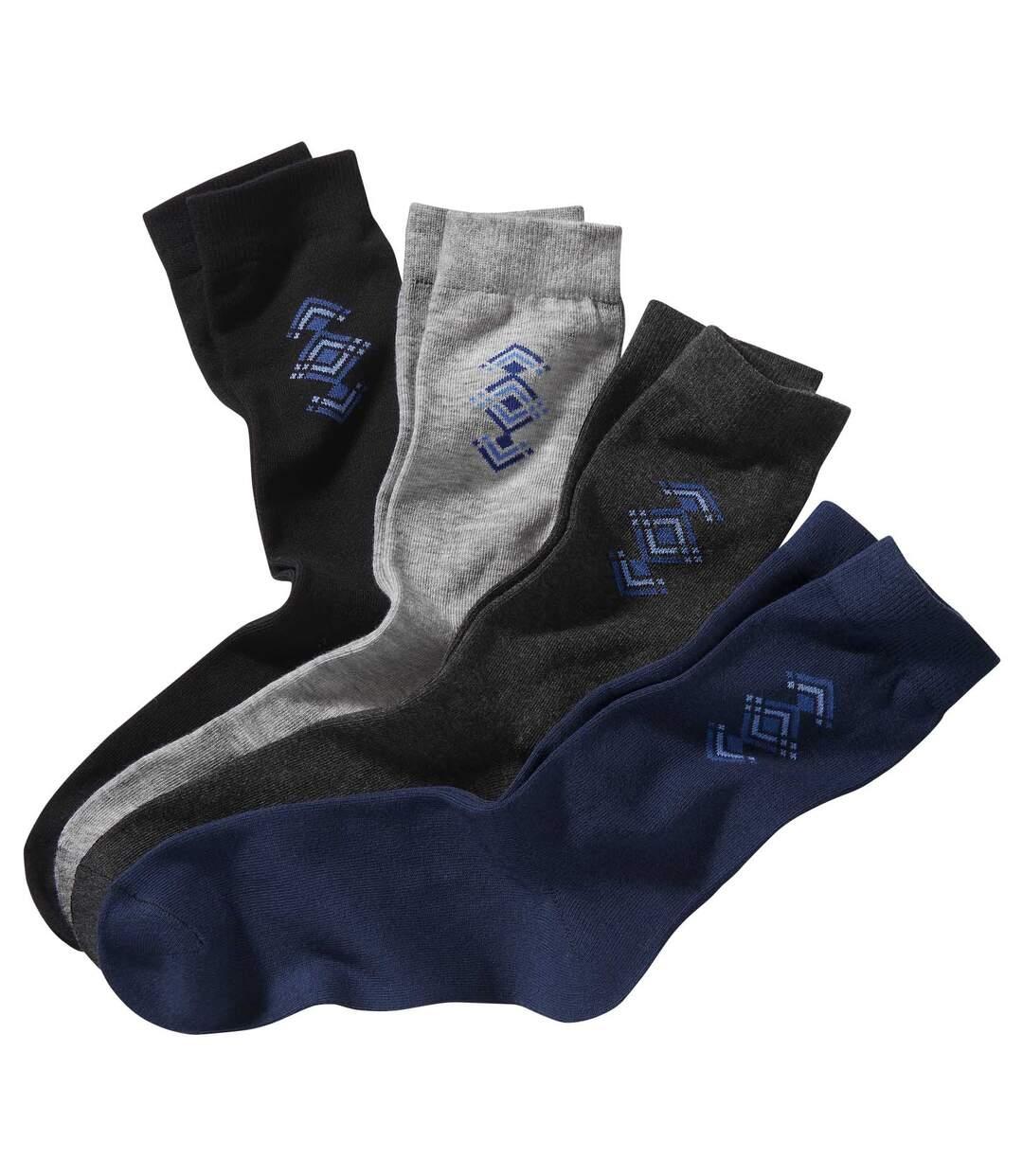 Sada 4 párů ponožek s barevným vzorováním