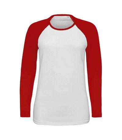 SOLS Womens/Ladies Milky Contrast Long Sleeve T-Shirt (White/Red) - UTPC3514