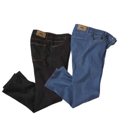 Pack of 2 Men's Stretch Jeans - Blue Black