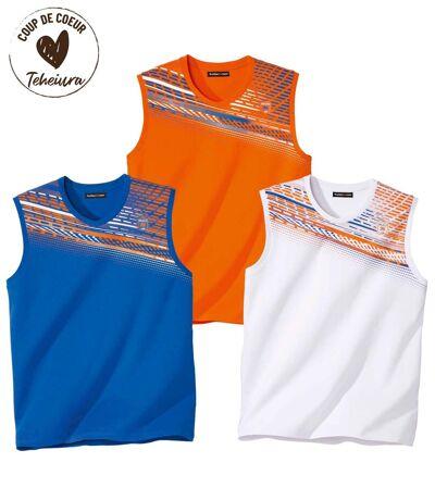 Pack of 3 Men's Graphic Vests - White Blue Orange