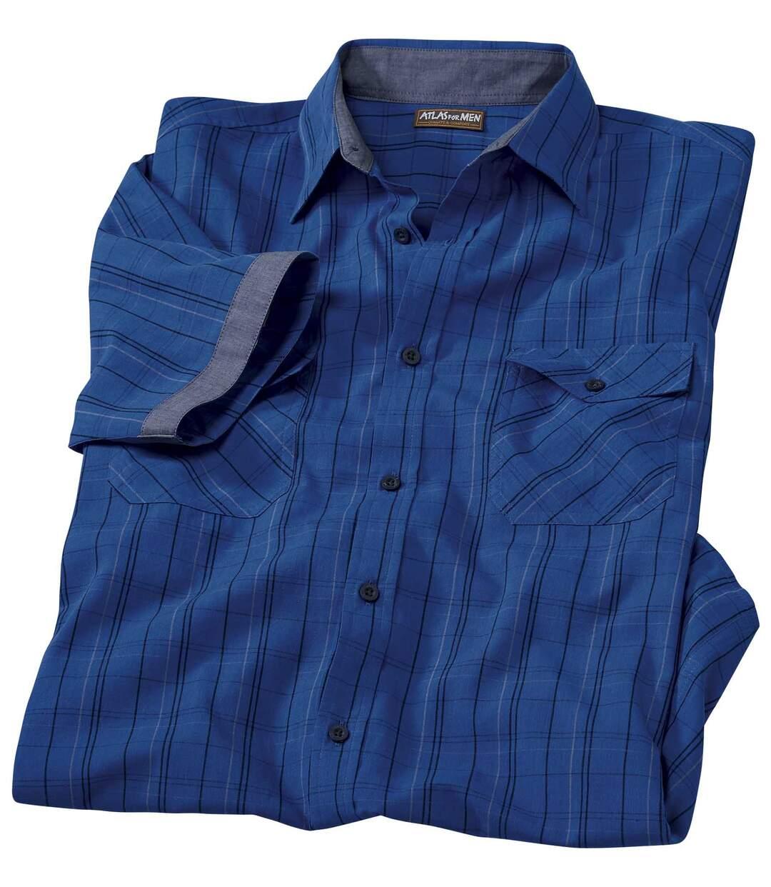 Popelinowa koszula w intensywnie niebieską kratę