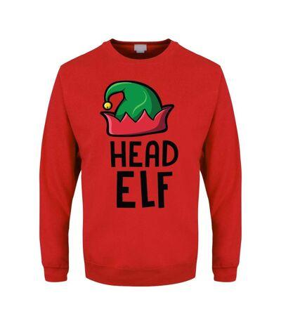 Grindstore Mens Head Elf Christmas Jumper (Red) - UTGR2287