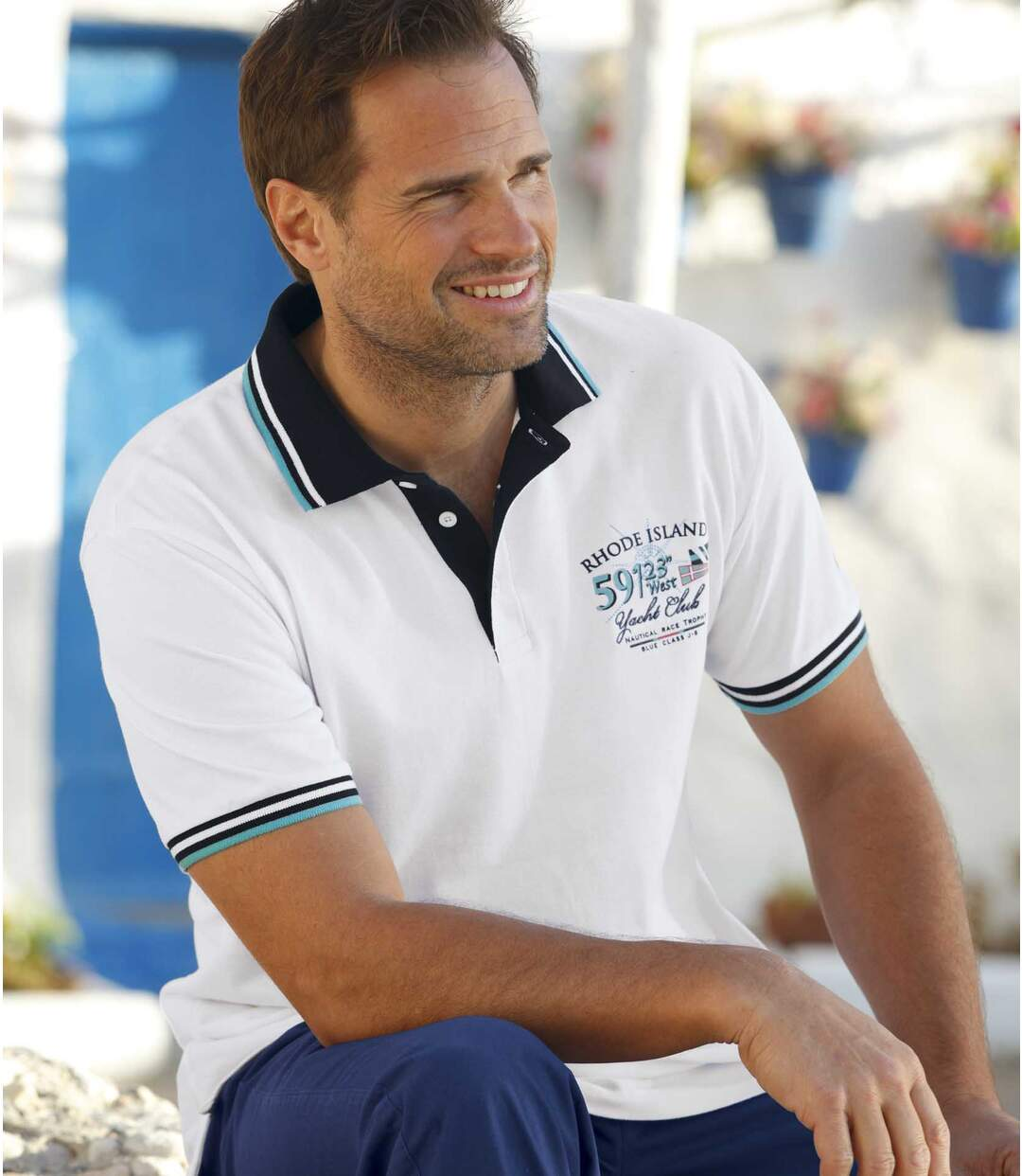 Pack of 2 Men's Nautical Polo Shirts - Turquoise White