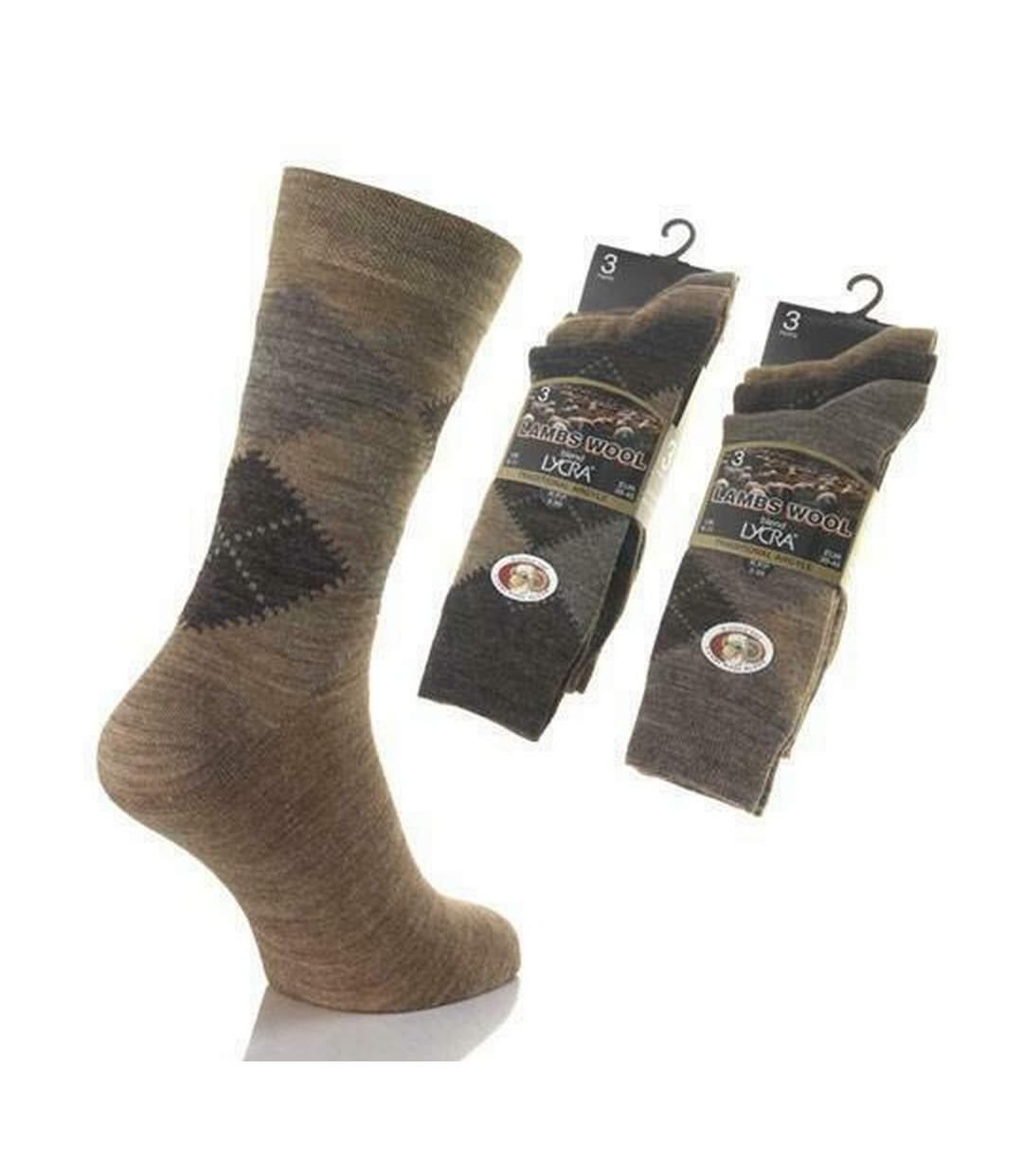 Mens Long Length Ribbed Lambswool Blend Socks (Pack Of 3) (Brown Assorted) - UTMB229