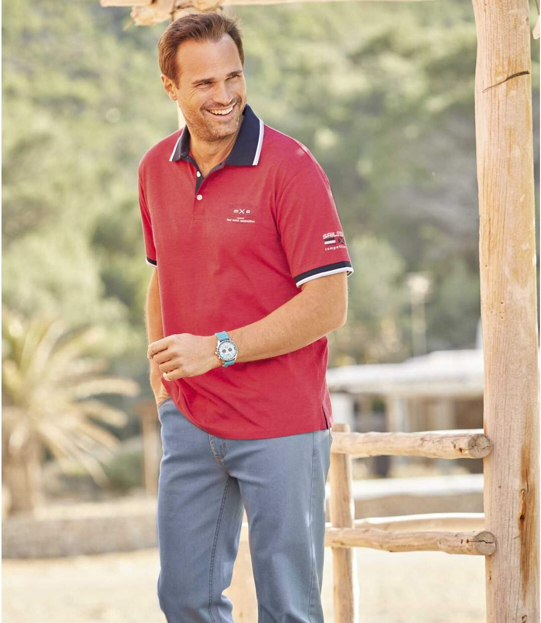 Pack of 2 Men's Yachting Race Polo Shirts - Red Blue