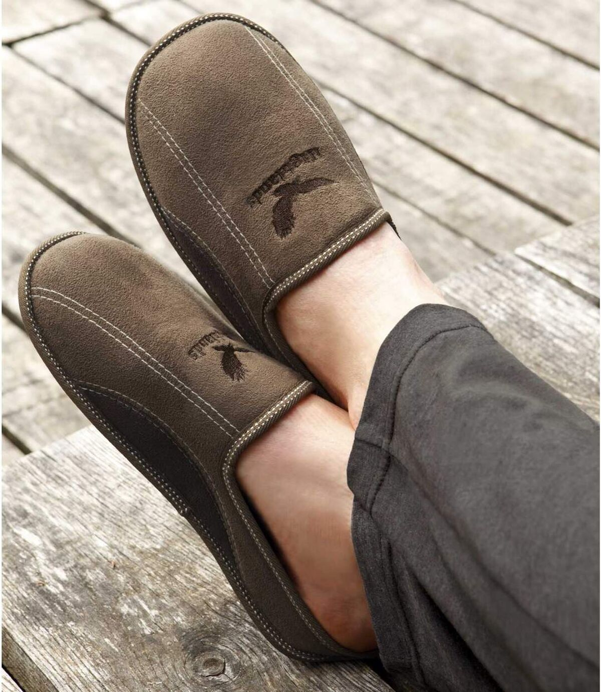 Men's Brown Faux Suede Slippers Atlas For Men
