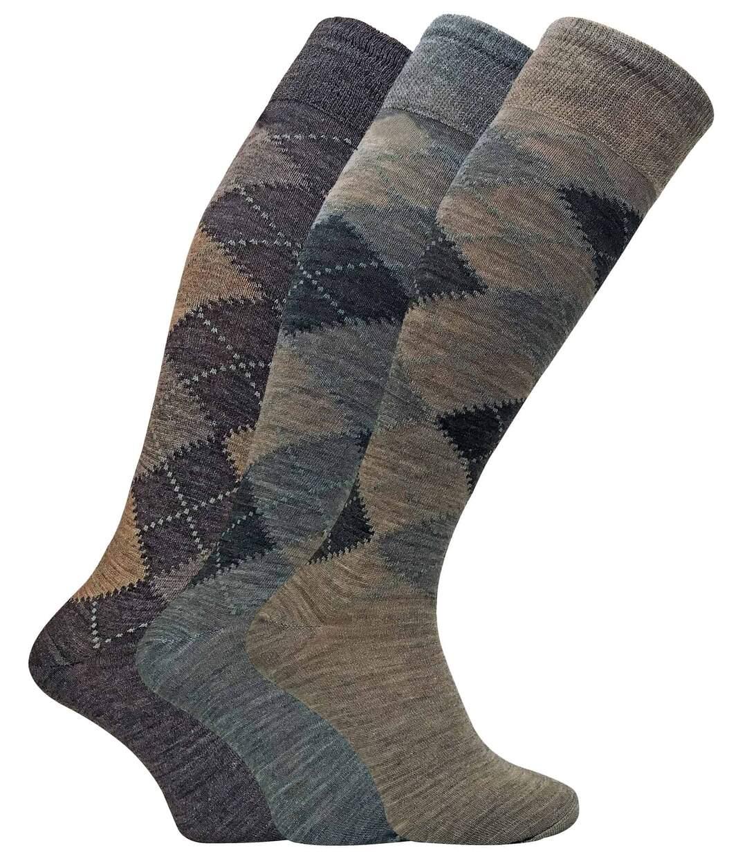 3 Pk Mens Knee High Argyle Lambs Wool Dress Socks