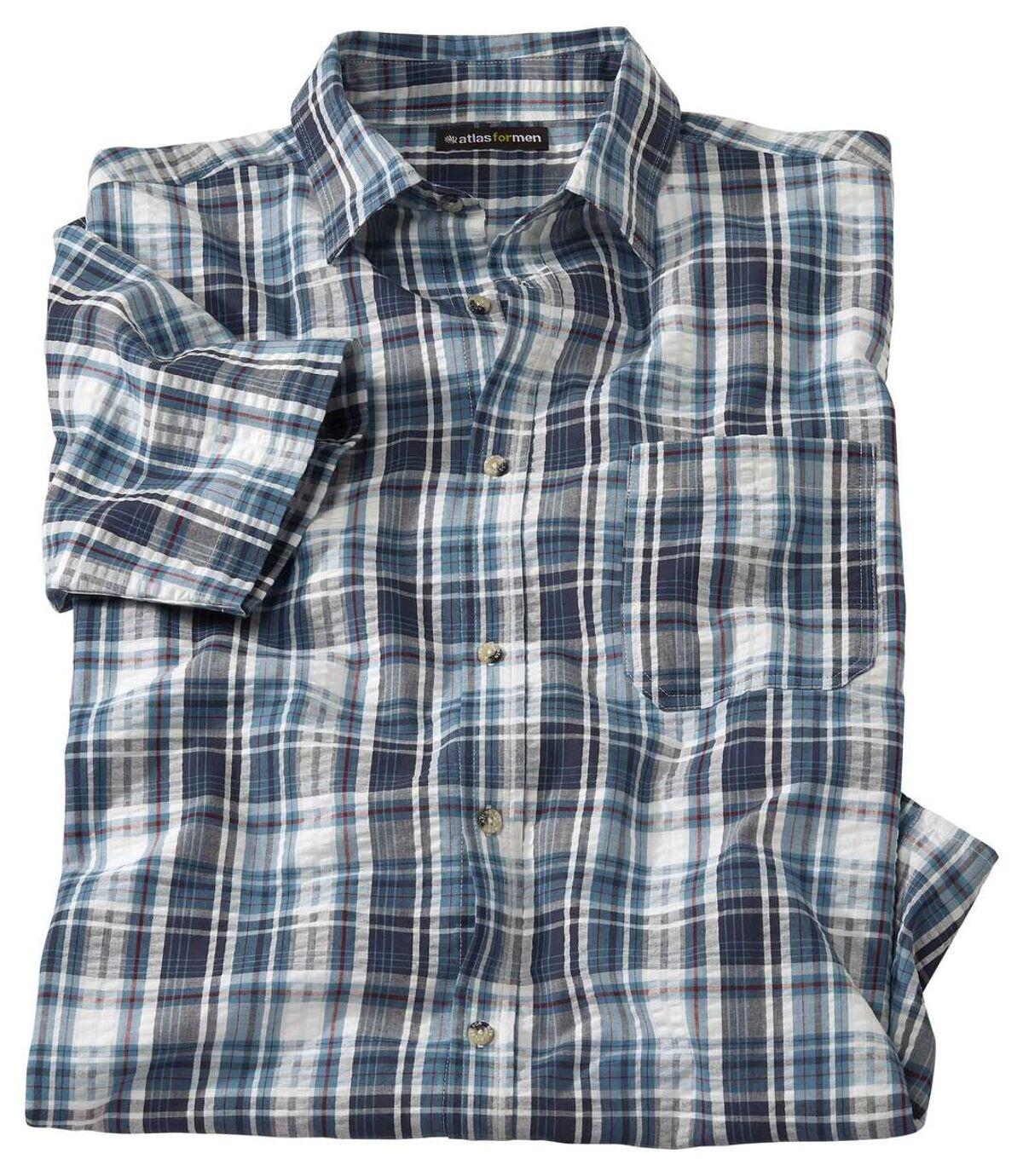 Geruit overhemd van gewafeld katoen Atlas For Men