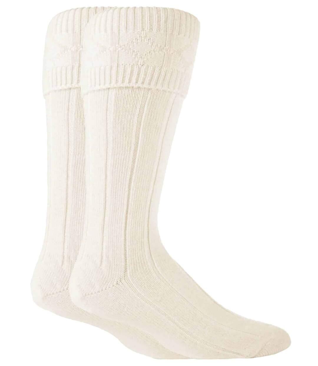 Mens Knee High Wool Ribbed Cream Hose Kilt Socks