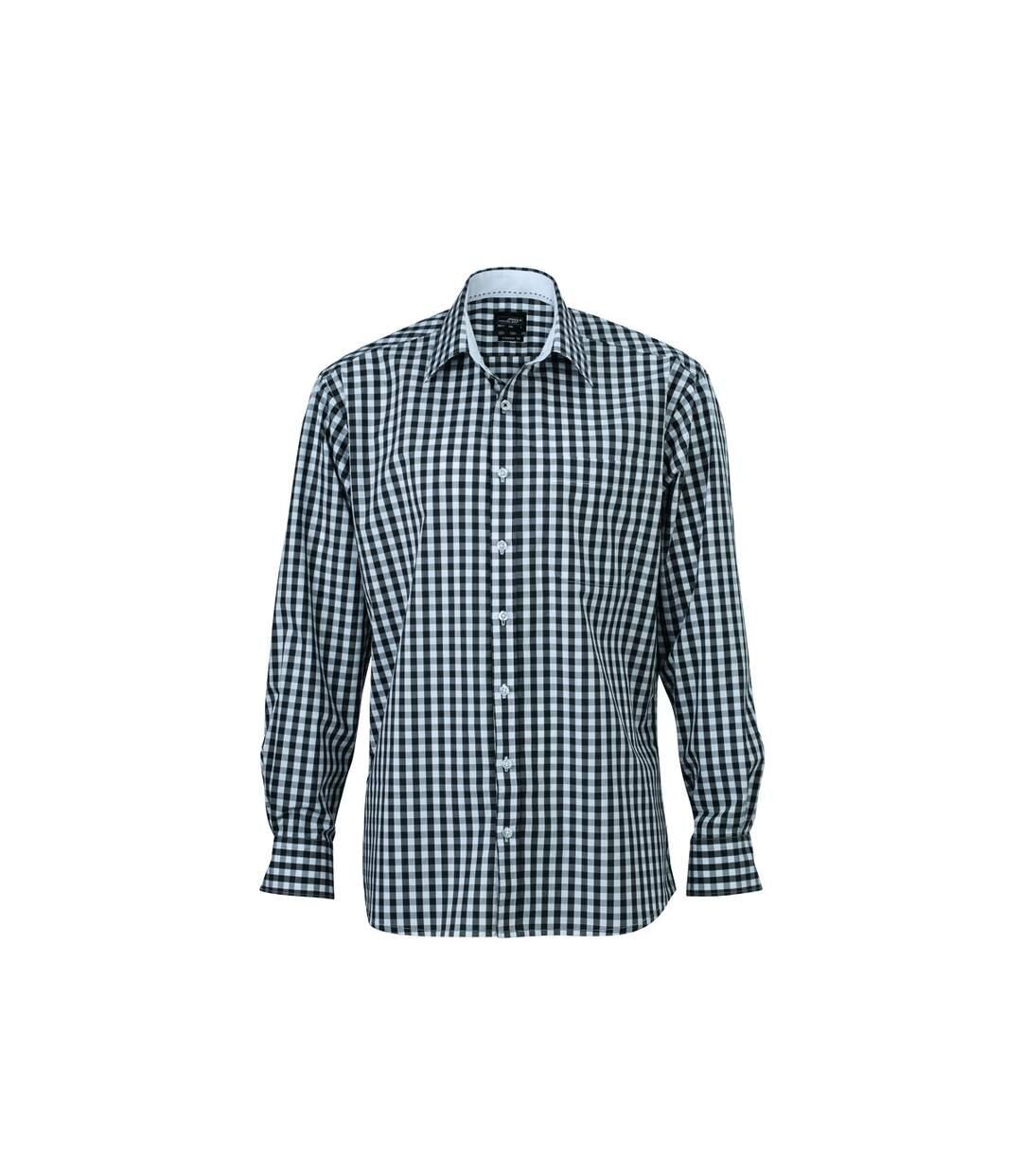 chemise manches longues carreaux vichy HOMME JN617 - gris graphite