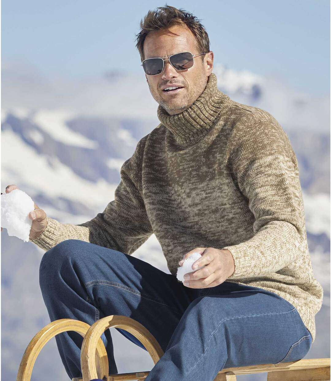Men's Beige Turtle Neck Jumper