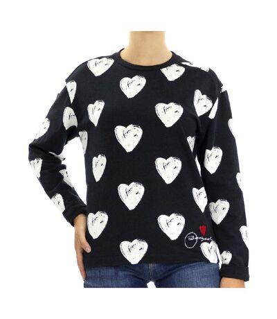 Sweat Cœur Noir/Blanc Femme Desigual Black3