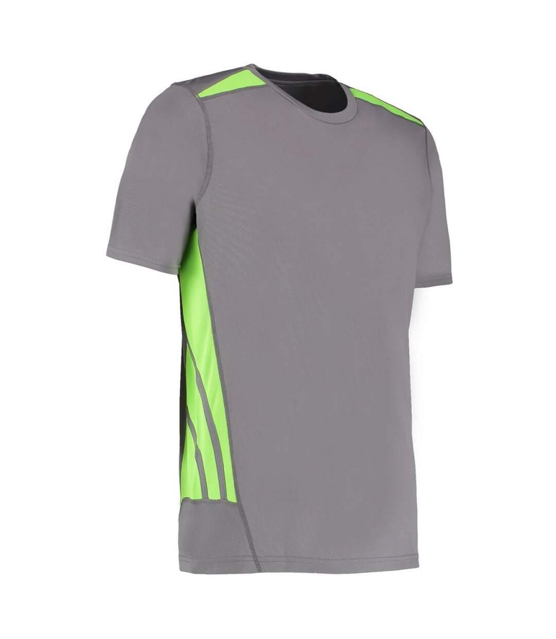 Gamegear® Mens Cooltex Short Sleeve Training T-Shirt (Grey/ Fluoresent Lime) - UTBC417