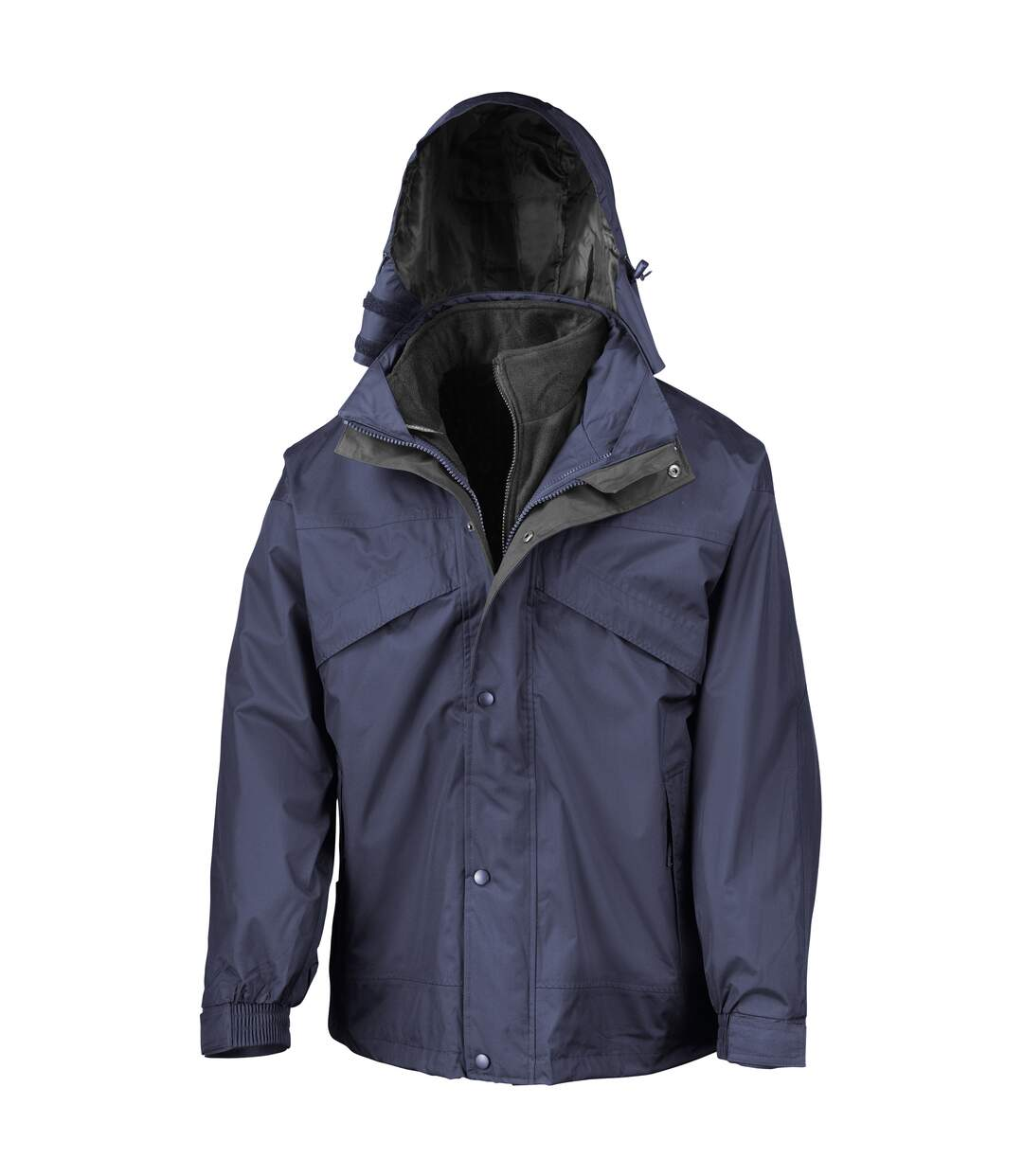 Result Mens 3 In 1 Zip And Clip StormDri Waterproof Windproof Jacket (Navy Blue) - UTBC930