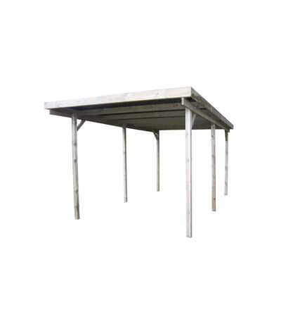 Carport en bois et panneaux ondulés 3x6 m Basic