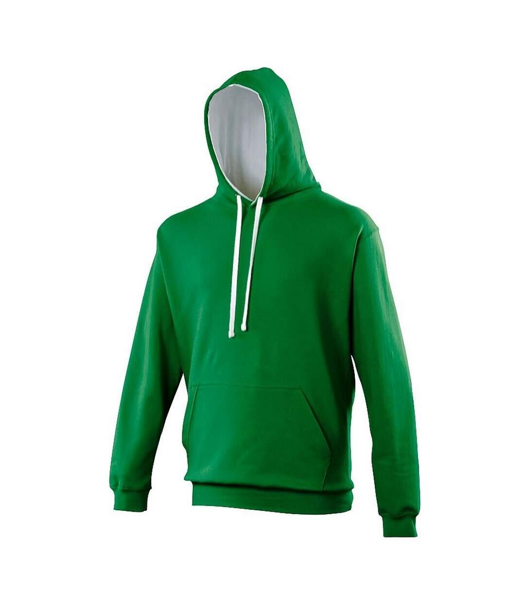 Awdis Varsity Hooded Sweatshirt / Hoodie (Kelly Green/Arctic White) - UTRW165