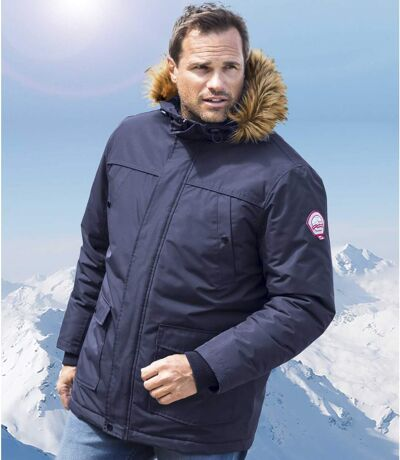 Men's Navy Winter Chill Parka - Faux Fur Hood - Water Repellent